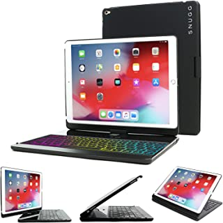 Snugg iPad Air 3 (2019) / iPad Pro 10.5 Keyboard, Wireless Backlit Bluetooth Keyboard Case Cover 360° Degree Rotatable Keyboard Black
