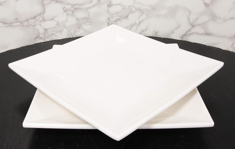Ebros 11 White Jade Melamine Contemporary Square Serving Dinner Plate Or Dish Restaurant Supply For Salad Pasta Noodles Main Course Serveware Dining Platter 2 Platters