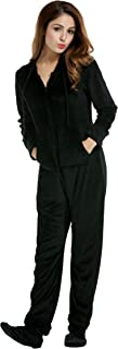 Hotouch Women's One Piece Pajamas Coral Fleece Onesie Hooded Footed Jumpsuit Pajamas S-XL