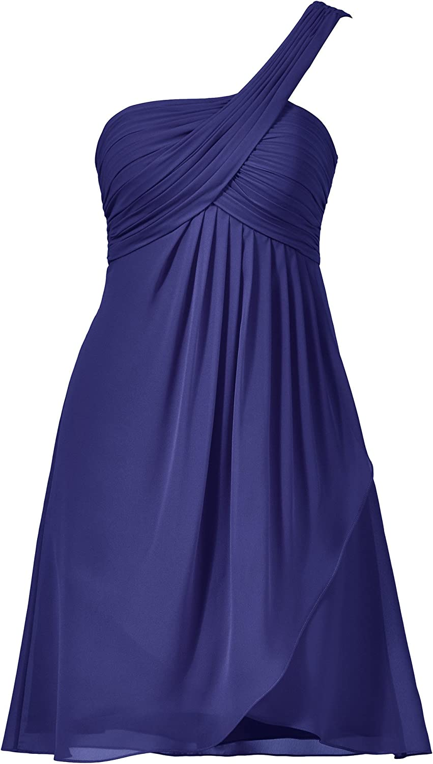 Alicepub Short One Shoulder Bridesmaid Dress Front Spilt Evening Party Prom Gown