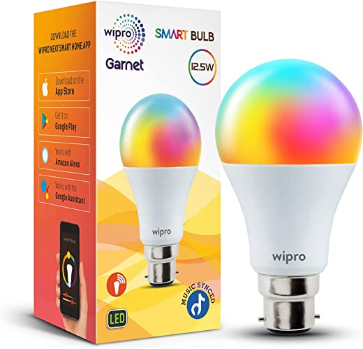Wipro 12.5-Watt B22 Wi-Fi Smart LED Bulb with Music Sync (16 Million Colors + Warm White/Neutral White/White) (Compatible with Amazon Alexa and... 1
