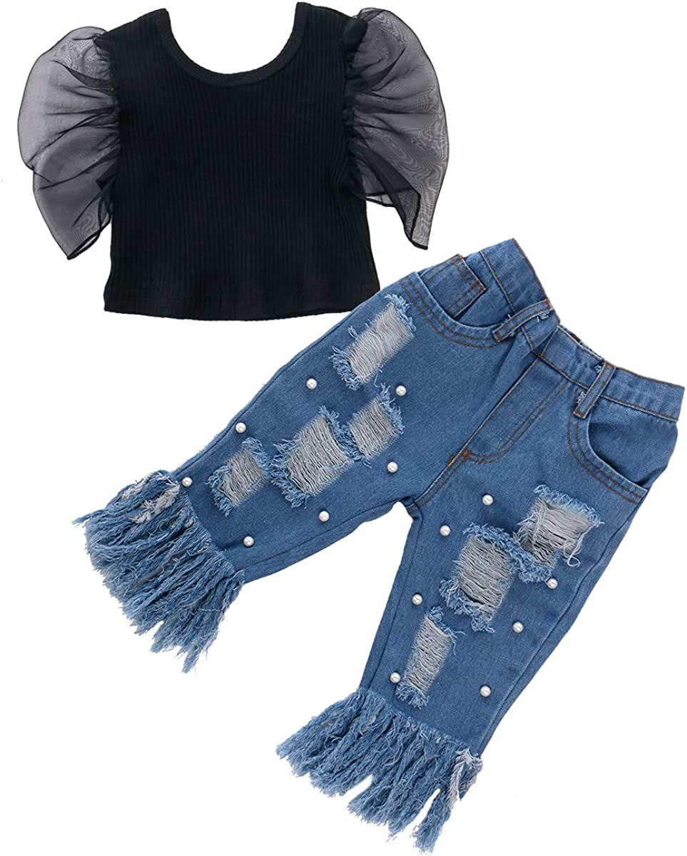 Toddler Baby Girl Jeans Clothes Set Sleeve Top Puff Rippe Our shop most Houston Mall popular Shirts