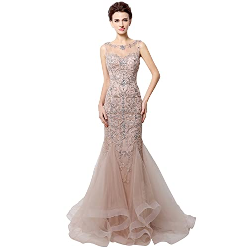 5320c5c30fdf Clearbridal Women s Mermaid Prom Dress with Beads Long Formal Evening Gown
