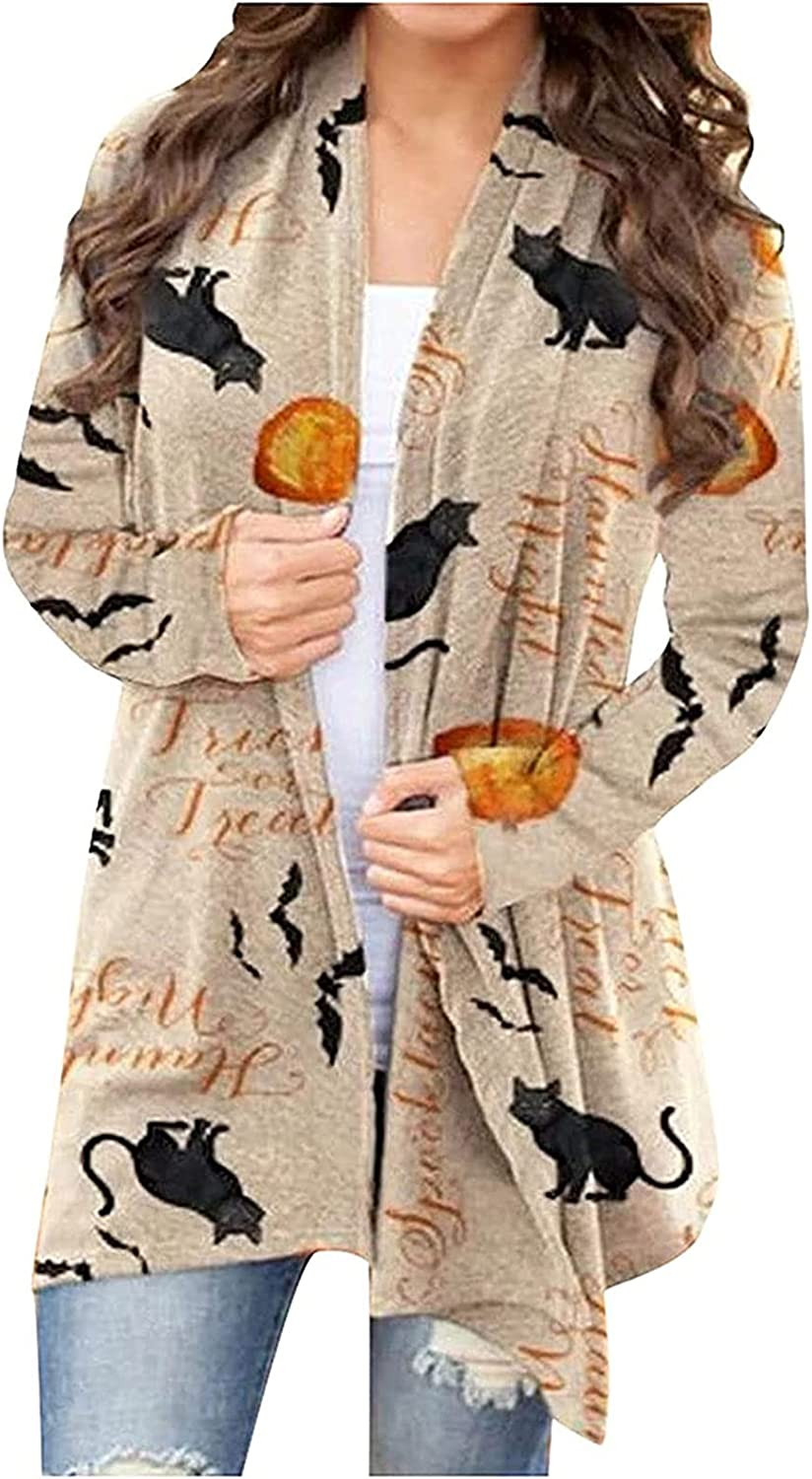 Women Plus Size Cardigan Sweaters Lightweight Open Front Kimono Cardigans Coat Long Sleeve Funny Halloween Fall Clothes