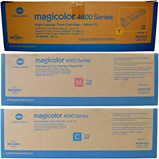 Konica Minolta magicolor 4690M High Capacity Toner Value Kit (Includes 1 Each of A0DK232 A0DK332 A0DK432) - Genuine OEM toner