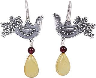 925 Sterling Silver Bird Natural Amber Garnet Drop Earrings, Bird Glory'