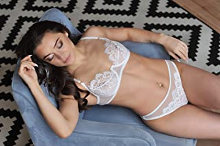 ded25ab1ea Lace exclusive high quality lingerie set ⇼ white lingerie thong tanga  panties and ruches bra ⇼