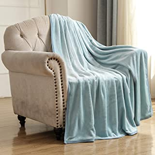 Bencier Flannel Fleece Lightweight Solid Microfiber Breathable Soft Throw Blanket for Couch/Sofa/Bed (Ice Blue, 60