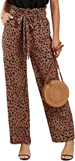 Womens High Waisted Leopard Print Palazzo Pants Belted...