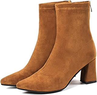 Ches 2019 Boots Women Zip Stretch Fabric Ankle Boots Winter Shoes Square Heel Pointed Toe Plush Snow Boots