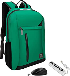 Green Anti-Theft Laptop Backpack, USB Hub, Mouse for HP Omen, Mobile Thin Client, Spectre Up to 15.6 inch