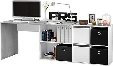 EGLEMTEK Scrivania Multiposizione con Scompartimenti Murcia Scrittoio Mobile per Computer Desk da Ufficio Soggiorno Sala da Pranzo 136 x 74 x 66 cm Colore Bianco Lucido E Grigio Cemento