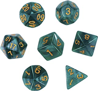 eBoot Polyhedral 7-Die Dice Set for Dungeons and Dragons with Black Pouch (Green)