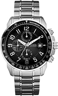 Guess U15072G1 chrono black dial silver stainless steel bracelet men watch NEW