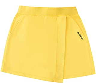 ALAVIKING Girls Cotton Skirts Athletic Running Shorts Scooter Skirt for Girls Size 3-12 Years (Yellow-xs)