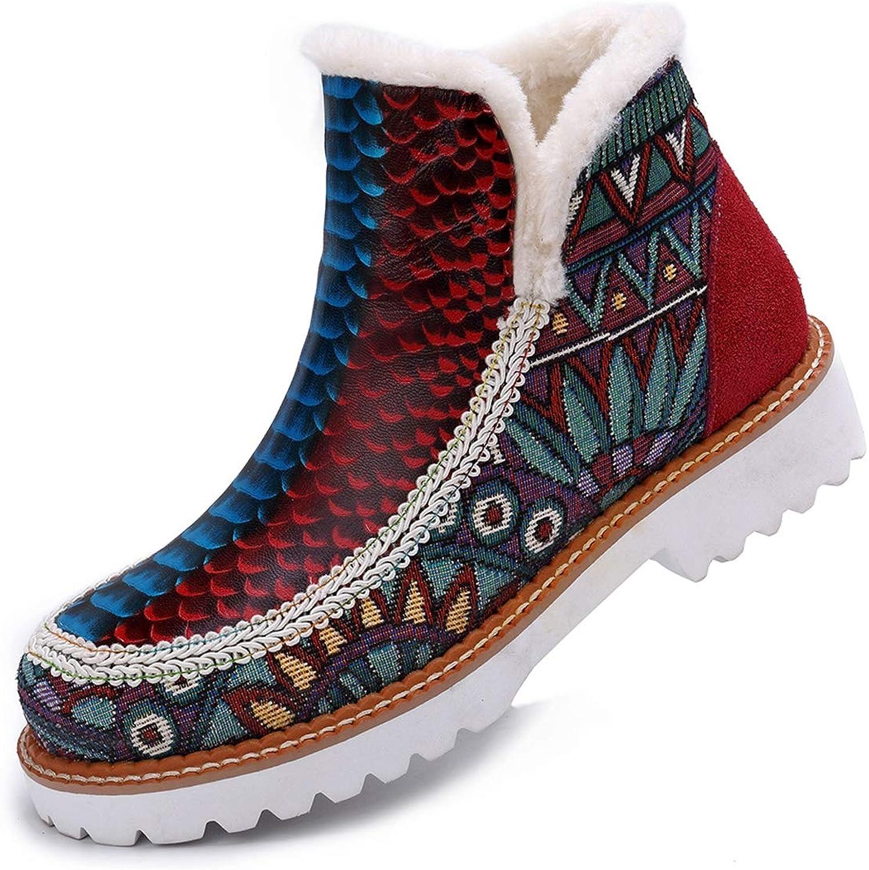GDXH Neue Schuhedamen Ankle Stiefel Handmade Leder Retro Warm Warm Ladies Outdoor Anti-Slip Round Toe Fur für Party oder Restaurant,A,38EU  am meisten bevorzugt