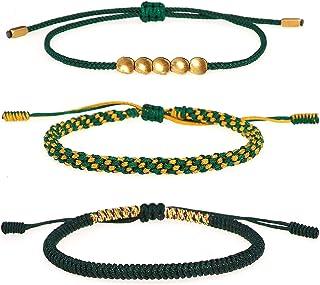 YooAi 3 Pezzi Braccialetto di Perline di Rame Tibetano Braccialetto di Corda Nodo Fortunato Braccialetti Dell'amicizia Int...