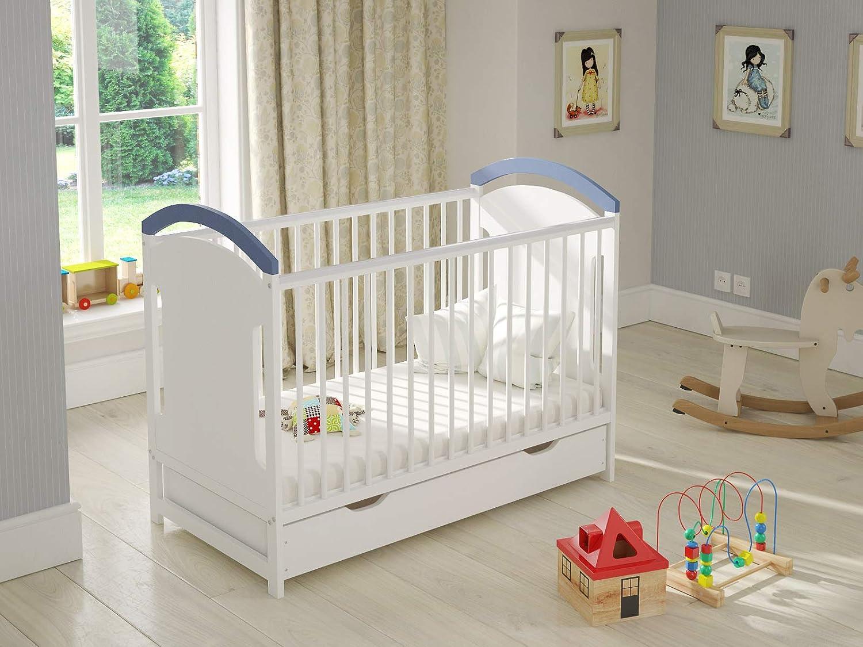 Babybett Gitterbett Wei Blau mit Shublade 120 x 60 Hlzerne Sicherheitsbarriere