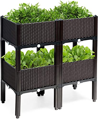 2021 Giantex Set of 4 Raised Garden Bed kits, Plastic Elevated Garden beds with Brackets for Flowers Vegetables, Outdoor Indoor Planting Box Container for Garden wholesale Patio Balcony Restaurant, wholesale Easy Assembly (4) online sale