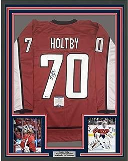 Framed Autographed/Signed Braden Holtby 33x42 Washington Red Hockey Jersey Beckett BAS COA