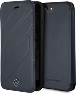 CG Mobile Mercedes Benz Bookstyle Genuine Leather Case for iPhone 8 Plus and iPhone 7 Plus Hard Cell Phone Cover Navy Easy Snap-on Shock Absorption Cover Officially Licensed.