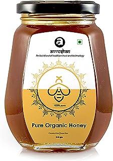 Anveshan Raw Organic Multi-floral Honey| 500gm| Glass Jar| 100% Unprocessed Ayurvedic| Immunity Boosting