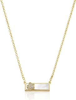 Little Miss Twin Stars Girls'  14k Gold-Plated and Mother-Of-Pearl Bar Chain Accented with Cubic Zirconia Pendant Necklace