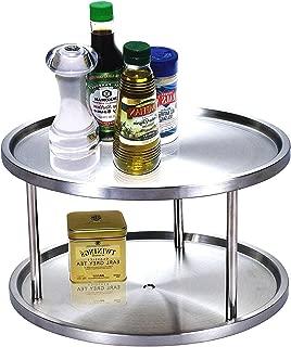 Cоk N Hоmе プレミアム 10.5インチ 2段 レイジースーザン ターンテーブルオーガナイザー ステンレススチールストレージ