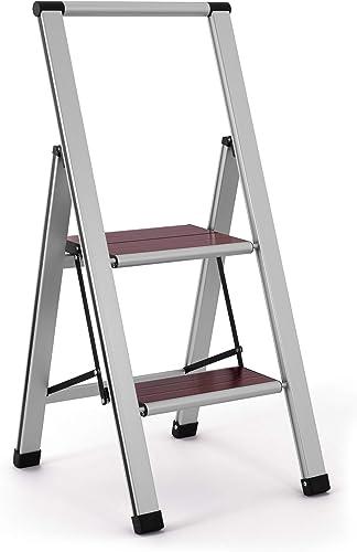 popular 3.02' Brushed online sale Aluminum/Wood Lightweight 2 popular Step Ladder outlet online sale