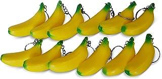 Novel Merk Yellow Banana 12-Piece Fruit Keychains for Kids Party Favors & School Carnival Prizes