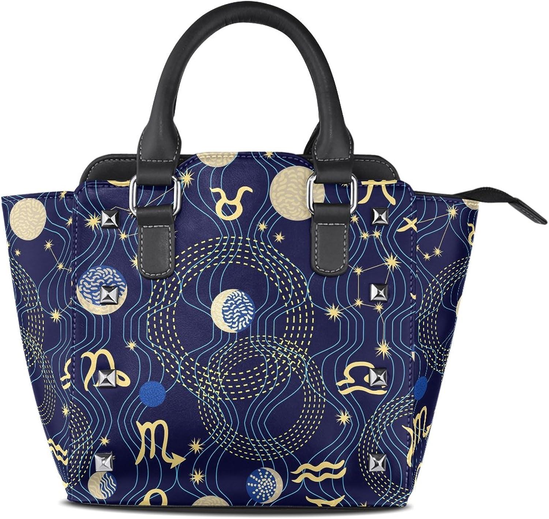 My Little Nest Women's Top Handle Satchel Handbag Abstract Constellations Zodiac Signs Ladies PU Leather Shoulder Bag Crossbody Bag