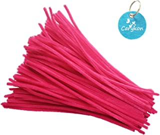 Carykon 100 Pieces Fuzzy Chenille Stems Pipe Cleaners for Arts and Crafts (Hot Pink)