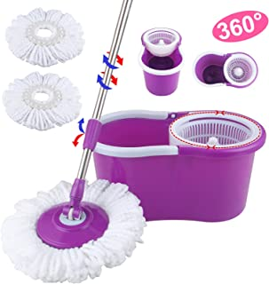 Mecor Spin Mop Bucket System-Microfiber Spinning Mop W/Bucket, 2 Microfiber Mop Heads-Rotating 360 Degree, Adjustable Handle-for Home Cleaning, Bathroom Equipment-Purple