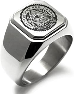 Stainless Steel All Seeing Eye Novus Ordo Seclorum Symbol Square Flat Top Biker Style Polished Ring