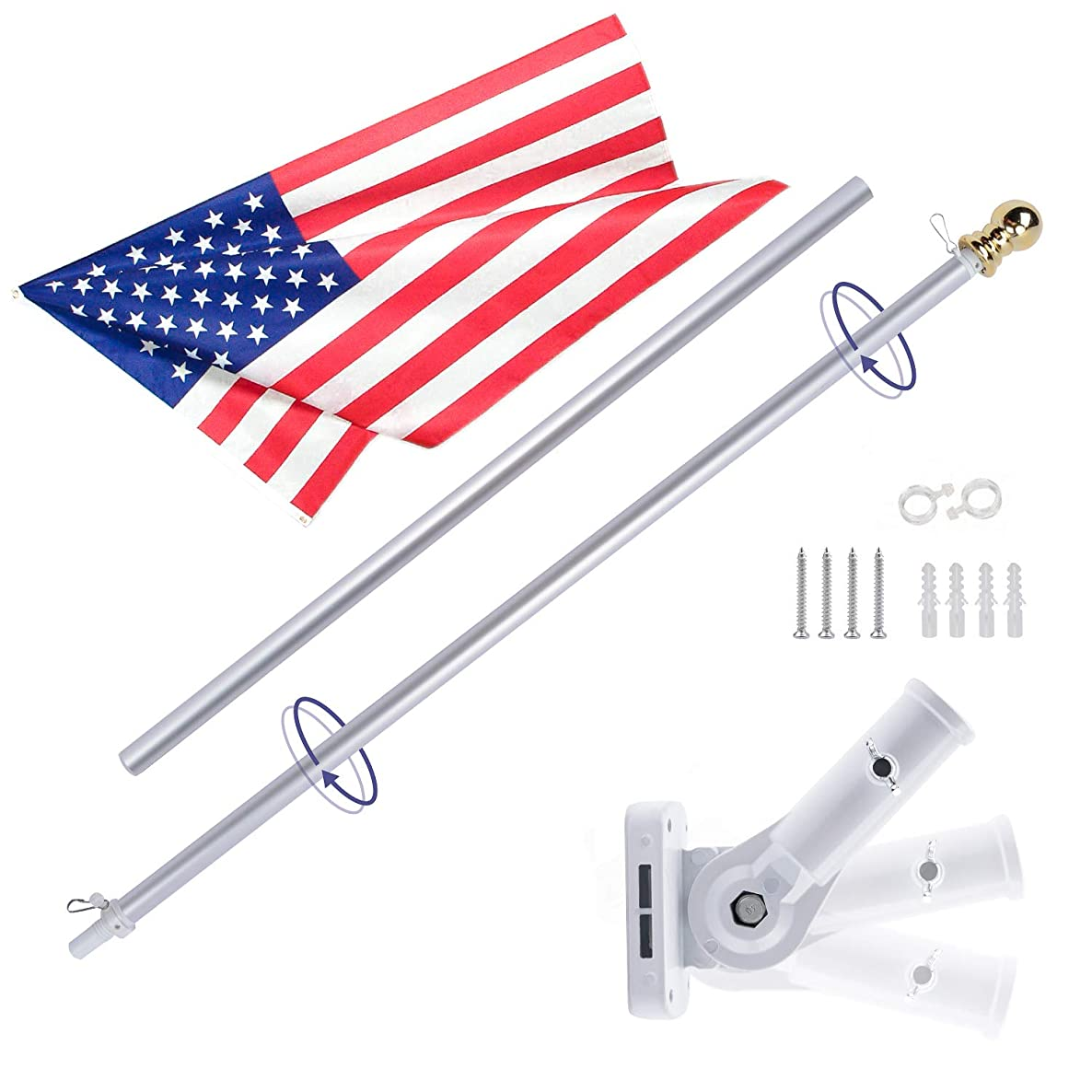 Gientan 5FT Aluminum Tangle Free Spinning Flag Pole Kit with US Flag, Premium Heavy Duty American Flagpole with Stainless Steel Clip & Free Metal Bracket for Residential House or Commercial, Silver