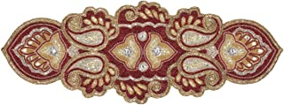 Light & Pro Hand Beaded Table Runner, Glitz Table Runner, Decorative Table Runner, Farmhouse Table Runner, A Beautiful Complement to Your Dinner Table Décor - 13x36 Inch - Maroon Gold