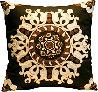 20x20 Throw Pillows Embroidered, Embroidered Pillow Cover with Floral, Bohemian Decorative Throw Pillows for Couch Sofa Bed Bedroom