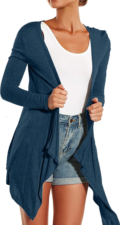 Jusfitsu Womens Cardigan Drape Front Open Knitwear for Women Long Sleeve Top Irregular Hem