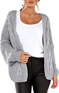 CILKOO Women Open Front Long Sleeve Chunky Knit Cardigan Sweaters Loose Outwear Coat Grey US8-10 Medium
