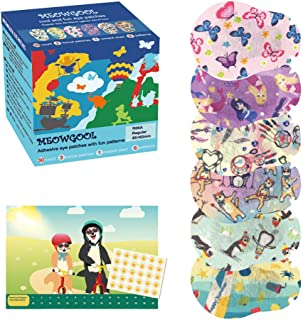 MEOWGOOL Kids Eye Patches Fun Patterns Girls Medical Eye Patch Hypoallergenic Adhesive Bandages for Amblyopia Cross Eye Regular Size (6 Patterns,30+3 Patches, 1 Poster-Best Friends)