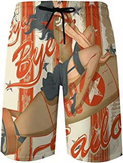 QUEMIN Men's Beach Short Swim Trunks Pin-up on A Rocket ,M-XXL,