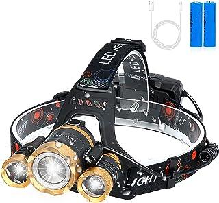 LEDヘッドライト usb充電式 12000ルーメン センサー 防水 最強ルーメン 90°調整可能 2つの18650バッテリー付きセン サー機能付き 防災 登山 夜釣り作業 PathFinder