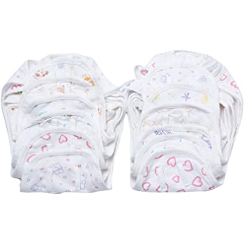 FARETO Newborn Hosiery Cotton Cloth Nappies Pack Of 12 Pcs Multi - 0-3Months