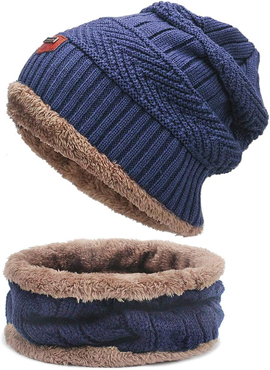 Winter Beanie Hat Cap For Boy Scarf Set Warm Knit Hat Thick Cap For Men Women Stylish Ear Neck Protection