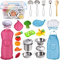 Vegetable /& Fruit Kitchen Playset Toys for Toddlers Apron /& Chef Hat Boys and Girls NZQXJXZ 34 Pcs Kids Kitchen Pretend Play Toys with Premium Stainless Steel Cookware