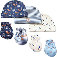 Baby Mittens and Caps Set Infant gloves and no scratch mittens Newborn Gift 7 Piece Set For Baby Boys & Girls, 0-6 Months