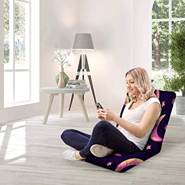 Floor Lounger Adjustable Floor Chair Gradient Yellow and Pink Colored Crescent Moons Memory Foam Folding Floor Sofa Lounge Ch