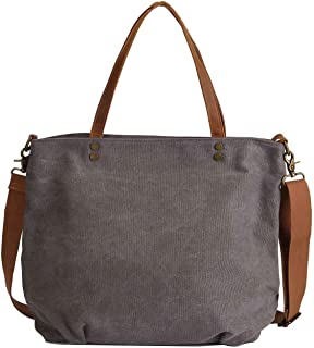 Neuleben Schultertasche Damen Umhängetasche Canvas Tasche Shopper Frauen Handtasche Segeltuch Henkeltasche mit Reißverschluss für Arbeit Einkauf Büro Schule Reise Grau
