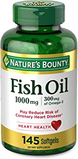 FIsh Oil by Nature's Bounty, Dietary Supplement, Omega 3, Supports Heart Health, 1000 Mg, 145 Rapid Release Softgels