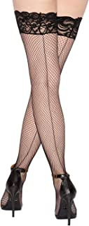 Women's Fishnet Thigh-High Stockings with Silicone Lace Top